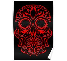 Red Day of The Dead Skull Poster