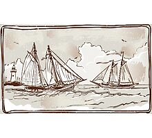 Vintage View of Sailing Ships on the Sea Photographic Print