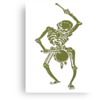 A Zombie Undead Skeleton Marching and Beating A Drum Canvas Print