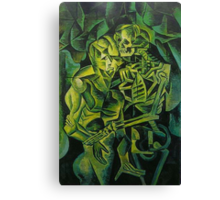 A Skeleton Embracing A Zombie Halloween Horror Canvas Print