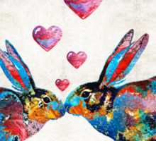 Bunny Rabbit Art - Hopped Up On Love - By Sharon Cummings Sticker