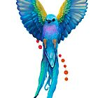 Bird bluebird blue parrot watercolor wings flying by RISHAMA