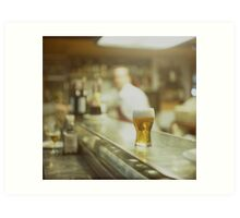 Glass of beer in Spanish tapas bar square Hasselblad medium format  c41 color film analogue photograph Art Print