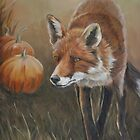 Red Fox with Pumpkins by Charlotte Yealey