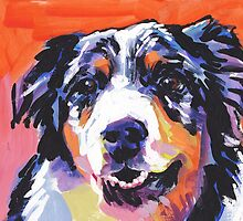 Australian shepherd Aussie Bright colorful Pop Art by bentnotbroken11
