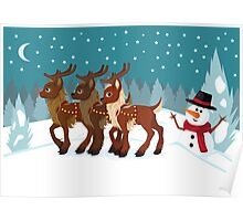 Reindeer in the Snow Poster