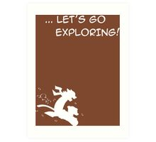 let's go exploring (white) Art Print