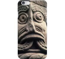 Face with split tongue on Saxon door framing Church Kilpeck England 198405170013 iPhone Case/Skin