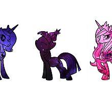 Luna, Twilight and Cadence Sky Set by IsabellaMead