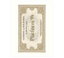 ticket to hogwarts Art Print
