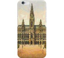 A digital painting of the City Hall in Vienna, Austria in the 19th century iPhone Case/Skin