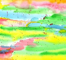 Watercolor Hand-Painted Abstract Red Yellow Green Blue by Beverly Claire Kaiya