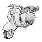 Lambretta 150ld Pencil Sketch by mik gailson
