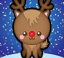 Cute Kawaii Rudolph The Red Nosed Reindeer by Ladypixelle