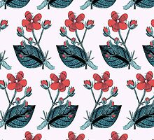 Flower Blossom, Petals, Leaves - Green Red by sitnica