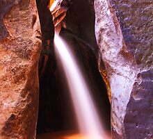 Slot Canyon Waterfall, Zion National Park by Roupen  Baker
