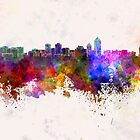 Albuquerque skyline in watercolor background by paulrommer