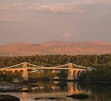 Sunset on Menai Suspension Bridge by Judi Lion