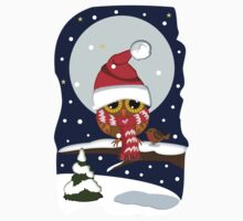 Baby Owl with oversized Santa hat and scarf by walstraasart