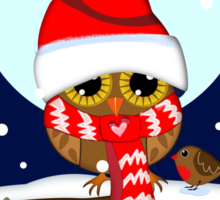 Baby Owl with oversized Santa hat and scarf Sticker