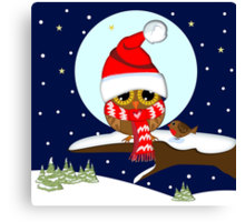 Baby wl with oversized Santa hat and red scarf Canvas Print