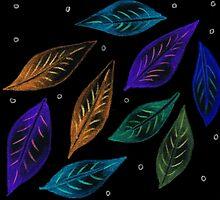 Neon Glowing Leaves by Hazel Partridge