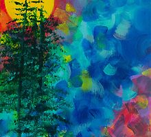 High Sierra Abstract Painting with Sun and Pines by DebBreton