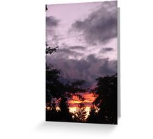 The sun was setting under the rain Greeting Card