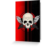 Wing Skull - RED Greeting Card