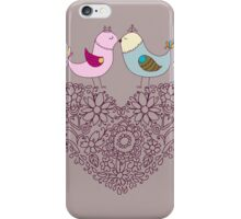 Flowers in the form of a heart and birds.Happy Valentine's. iPhone Case/Skin