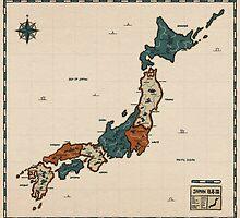 Japan - Vintage Effect Map (with border) by OneLeggedKiwi