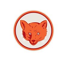 Red Fox Head Front Circle Retro by patrimonio