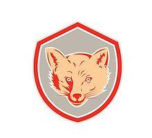 Red Fox Head Front Shield Retro by patrimonio