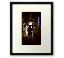 Man walking in street at night in rain color 35mm analogue photojournalism portrait photograph Framed Print