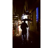Man walking in street at night in rain color 35mm analogue photojournalism portrait photograph Photographic Print
