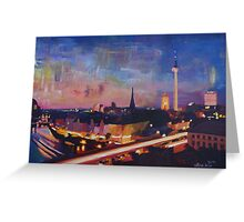 Illuminated Berlin Skyline at Dusk Greeting Card