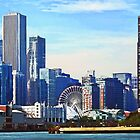 Chicago IL - Chicago Skyline and Navy Pier by Susan Savad