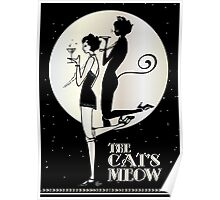 Gatsby Girl Flapper The Cat's Meow (black and silver) Poster
