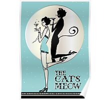 Gatsby Girl Flapper The Cat's Meow (blue and silver) Poster