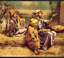 A digital painting of Bedouin beggars and children, Tunis, Tunisia in the 19th century by Dennis Melling