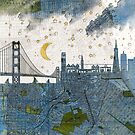 San Francisco skyline old map by BelleFlores