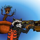 Rocket Raccoon and Groot by ZombieRodent