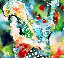 RANDY RHOADS playing the GUITAR - watercolor portrait by lautir