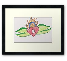 Flaming Heart Lock by Ruby Framed Print