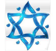 Star of David, ✡, Hexagram, Israel, Judaism, Space Poster