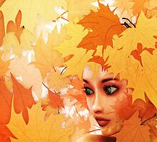 Autumn leaves and girl by AnnArtshock