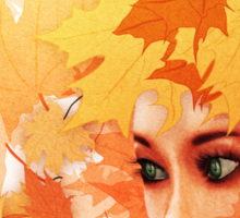 Autumn leaves and girl Sticker
