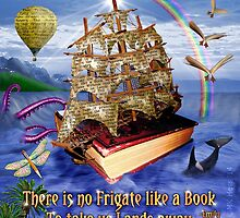 Book Ship Ocean Scene with Emily Dickinson Quote by emkayhess