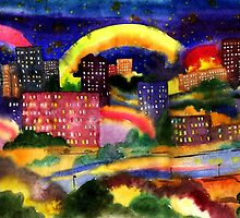 Fantastic city rainbow watercolor by vinainna
