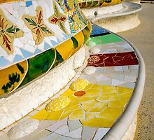 Curved benches inside Gaudi's Park Guell, Barcelona by Luke Farmer